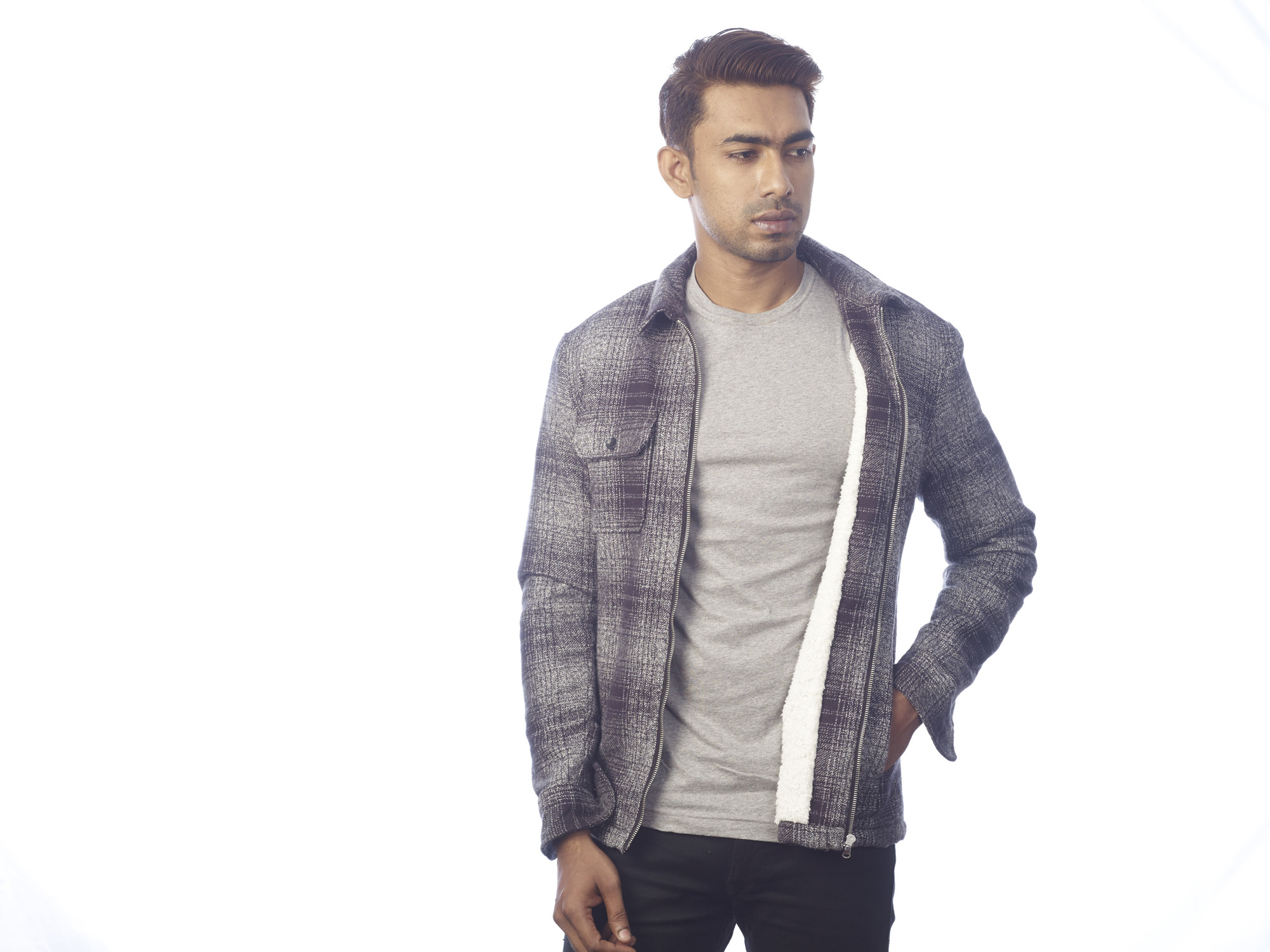 Men's Long Sleeve Double Pocket Shirt with Max Fur Lining